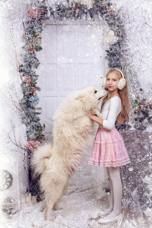 Girl with a white dog. The Samoyed Laika is standing on its hind legs. Vertical frame on the background of a white door