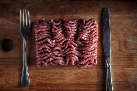 Minced meat on a cutting board 写真素材
