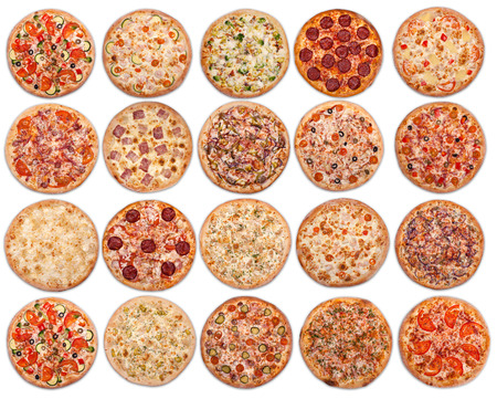 20 pizzas on a white background. Isolated photo. View strictly on top Foto de archivo