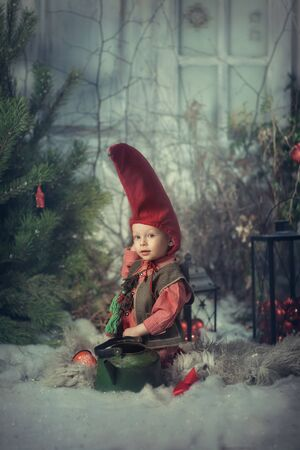 Little christmas gnome in a red cap and vest. Reklamní fotografie