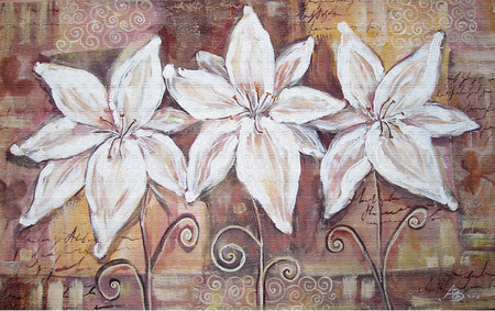 paintings: White lilies on brown background. Acryl painting.