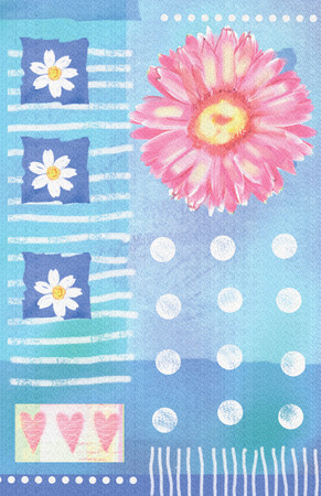 Postcard with pink watercolor gerbera and hearts.