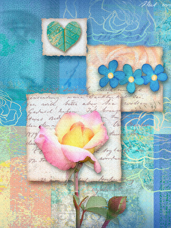 Beautiful blue floral postcard.