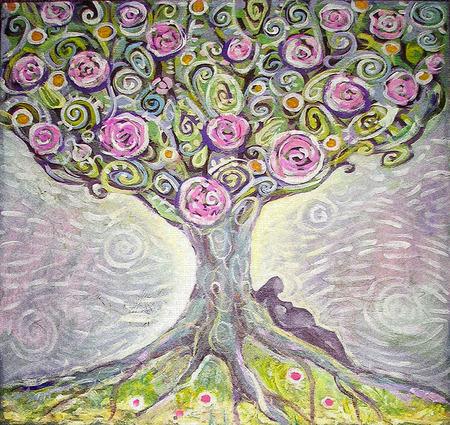 생활 아크릴 그림의 나무. 스톡 콘텐츠