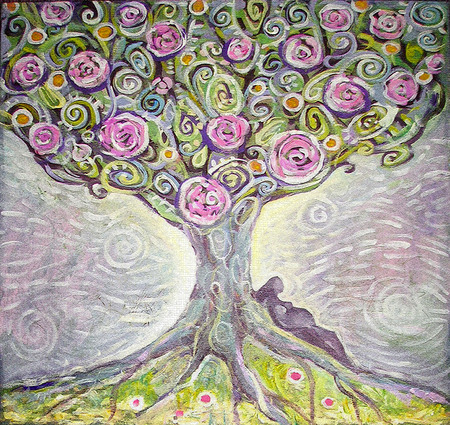 tree silhouettes: Tree of Life acrylic painting.