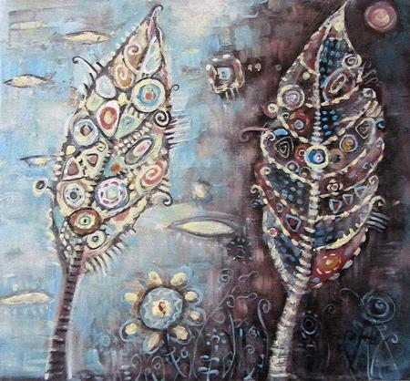 arte abstracto: Arte abstracto pintado paisaje con sombrío, marrón, naranja y manchas grises.