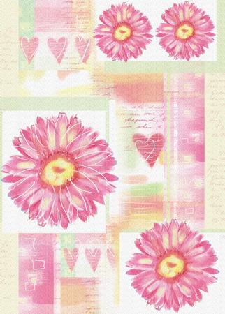 gerbera: Postcard with gerbera flowers and hearts.