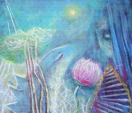 caritas pintadas: Pintura de acrílico abstracta.