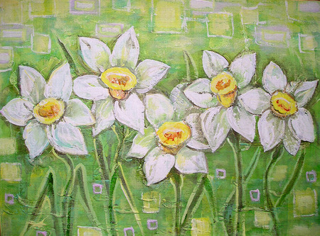 jonquil: Spring white daffodils on a beautiful acrylic painting background. Daffodils spring flowers or narcissus. Canvas. Interior decor. Still-life painting.