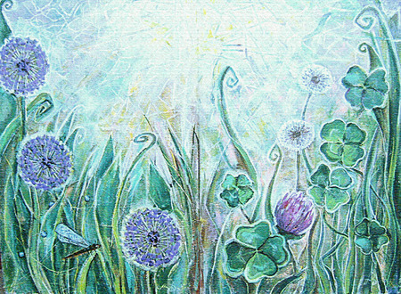 allium: Acrylic landscape. Blue allium flowers,clover,dandelion and dragonfly. Spring blooming meadow plants. Sunny grassland with flowers. Floral background. Old texture. Interior decor.