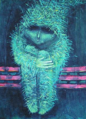 soledad: Pintura de acrílico abstracta. Soledad hombrecillo lo contrario verde. Decoración de interiores. Foto de archivo