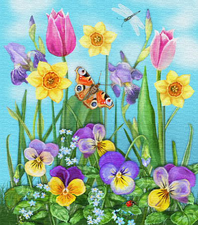 idealistic: Daylight meadow color background. Idealistic tranquil landscape. Beautiful multicolored flowers and insects on a background of blue windless sky with clouds.