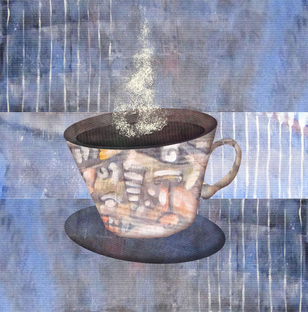 five o'clock: Painting patterned cups of steaming coffee or tea on abstract violet background. Mug of hot drink. Idea concept. Can be used for the kitchen or coffee shop interior, for design menu restaurant or cafe