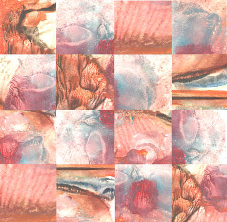 monotype: Picture - puzzle. Mixed piece of textured watercolor monotype. Abstract geometric painting. Colorful squares gradient. Grunge background. Can be used for web page background, identity style, printing.