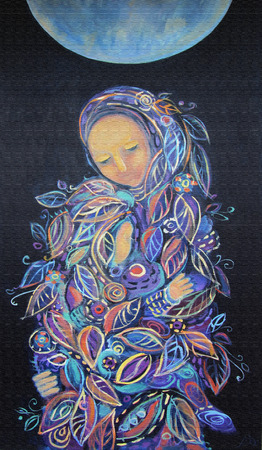 Maternity. Madonna with Child. Beautiful acrylic painting on canvas of woman in foliage clothes with baby, under the fool moon on a black background. Hand drawn portrait. Leaf pattern. Interior decor. Imagens