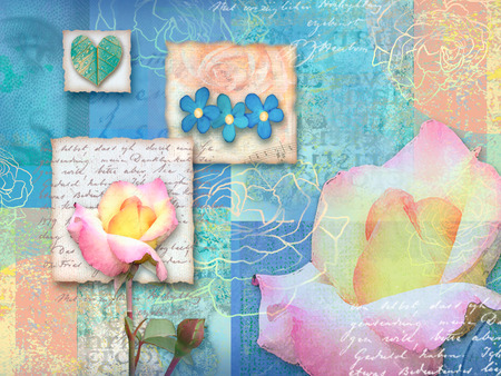 abstract rose: Beautiful blue floral postcard. Congratulations card. Beautiful spring pink flower Can be used as greeting card, invitation card for wedding, birthday and other holiday, wraps. Turquoise color.