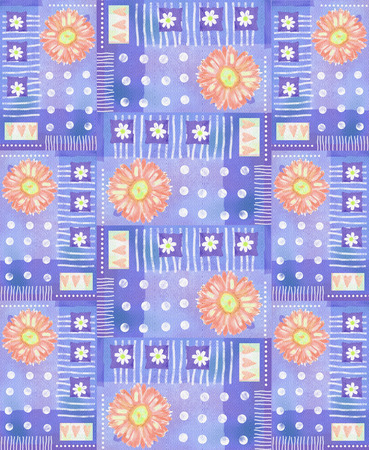 orange gerbera: Pattern with orange watercolor gerbera and hearts on a violet polka dot background. Floral background. Beautiful design. Can be used for textile, wallpaper, wraps, pattern fills, web page background.