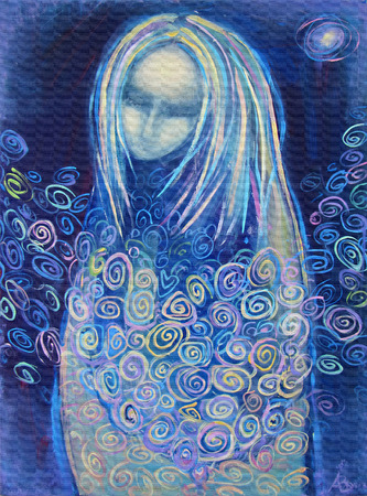 Awaiting birth. Beautiful acrylic painting on canvas of a mysterious woman in blue clothes, surrounded by abstract flowers, in the light of the star on a night background. Hand drawn portrait. Imagens
