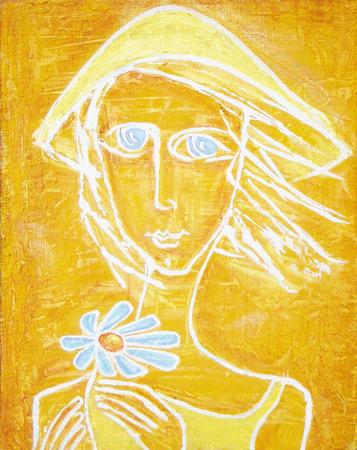 Abstract acrylic painting. Silhouette of sunny girl with blue eyes and blue flower in her hands on a yellow grunge background. Can be used as a picture for the interior, as part of wall decorations.