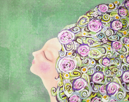 Dreaming woman with flowers in hair on green background. Mysterious, interesting lady. Can be used for printing on various products, such as tableware, packaging, calendars, boxes, gifts, albums etc. Imagens