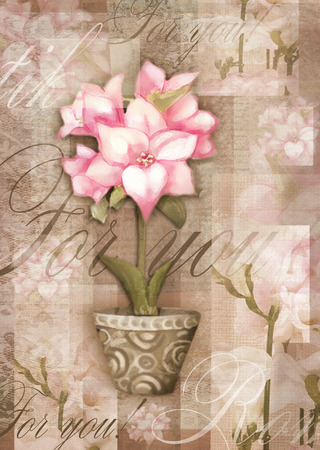 flora flower: Greeting postcard flower. Beautiful astromeria flower in the pot with pattern, isolated on grunge shabby background for holiday design. Hand painting love card.