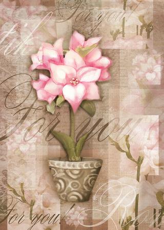 dessin fleurs: Salutation fleur carte postale. Belle fleur astromeria dans le pot avec le modèle, isolé sur fond grunge mal pour conception de vacances. Main carte de l'amour de la peinture.
