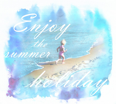 rejoice: Summertime sunny landscape with inscription enjoy the summer holidays and silhouette of happy child, who running and rejoice at the beach.