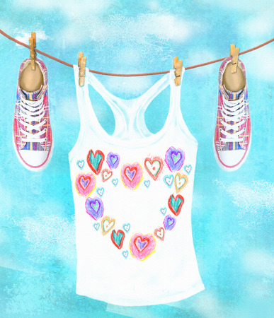 wet shirt: Laundry drying on the rope outside on a spring or summer day. Sneakers and jersey with hearts on the sky background. Funny cartoon illustration. Card with hand drawn shoes and clothes.