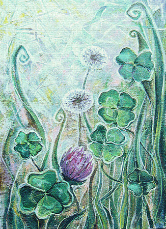 allium: Acrylic painting. Clover and dandelion. Spring blooming meadow plants. Sunny grassland with flowers. Floral background. Old texture. Image for the interior, as part of wall decorations. Stock Photo