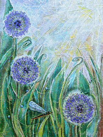 allium: Acrylic painting. Blue allium flowers and dragonfly. Spring blooming meadow plants. Sunny grassland with flowers. Floral background. Old texture. Image for the interior, as part of wall decorations.