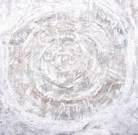 aureole: Acrylic painting. Fiery circles on textured background. Ragged old plaster background. Grunge cracked concrete wall. The wall texture with cracked plaster and whitewash. Mystical eye.