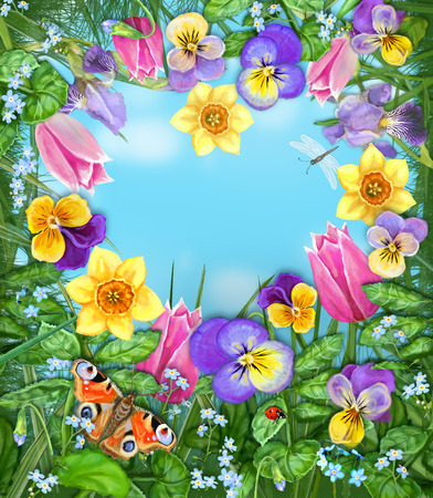 idealistic: Daylight meadow color background. Idealistic tranquil image. Beautiful multicolored flowers and insects on a background of blue windless sky with clouds.