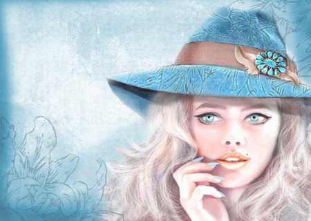 eyed: Hand drawn fashion girl illustration. American hippie bohemian boho style. Beautiful young trendy blue eyed blonde hair girl with makeup, wearing summer hat. Light blue grunge background.