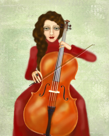 cellist: Musician. Woman playing the cello. Portrait of cellist. The girl in a red dress with black hair on the pistachio background. Graceful hands hold the bow and neck. Hairstyle and makeup in vintage style Stock Photo