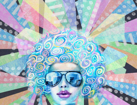 retro disco: Pop art design. Nightflyer discotheque. Party invitation. Summer saturday lounge retro night. Disco club girl in sunglasses, standing on a reflective dance floor or has a backdrop of glowing lights.