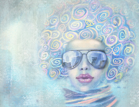 Fashionable woman in sunglasses. Closeup painting portrait. Illustration of woman with the speech bubble. Stylish abstract fashion background, with woman portrait for cover, flayer. Interior decor.