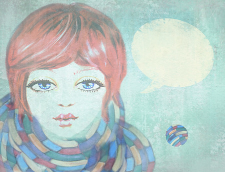 redheaded: Portrait of beautiful girl with blue eyes, wearing a scarf on grunge background. Illustration of beauty teenage girl with speech bubble. Outdoors. Close-up. Cute face. Stock Photo