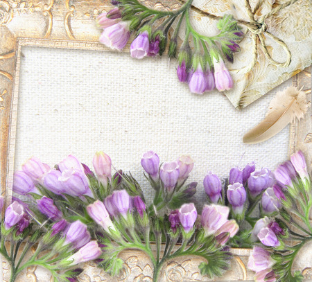 symphytum officinale: Flower greeting card. Symphytum officinale. Wedding card or invitation in grunge or retro style. Congratulations card with flowers, pearl necklace, package and place for your text. Stock Photo