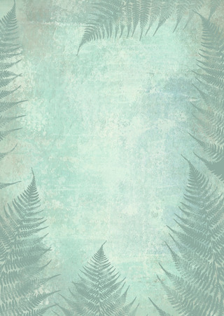 night vision: Background fern foliage frame. Design template with place for your text. Fog in the night forest. Night vision.