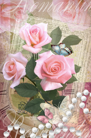 happening: Postcard flower. Romantic beautiful congratulations card design with roses, butterflies and pearl necklace. Can be used as greeting card, invitation for wedding, birthday and other holiday happening.