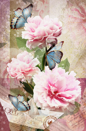 happening: Postcard flower. Congratulations card with peonies, butterflies and paper boat. Beautiful spring pink flower. Can be used as greeting card, invitation for wedding, birthday and other holiday happening Stock Photo