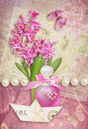 Postcard flower. Congratulations card with butterfly, pearls, hyacinth, perfume bottle and paper boat. Can be used as greeting card, invitation for wedding, birthday and other holiday happening. Stock Photo
