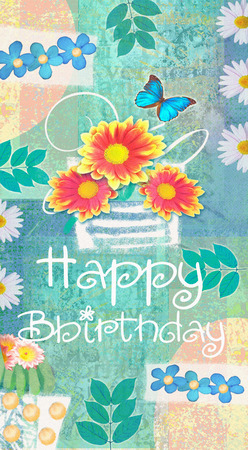 regards: Floral congratulations postcard. Gerbera, daisies and butterfly on turquoise shabbi chic background with hand painted flowers and leaves. Creative design. Beauty card with wishes of happy birthday. Stock Photo