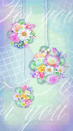 happening: Colorful bouquets of various flowers isolated on a tender shabby chic gradient background with text for you. Can be used as greeting card, invitation for wedding, birthday and other holiday happening.