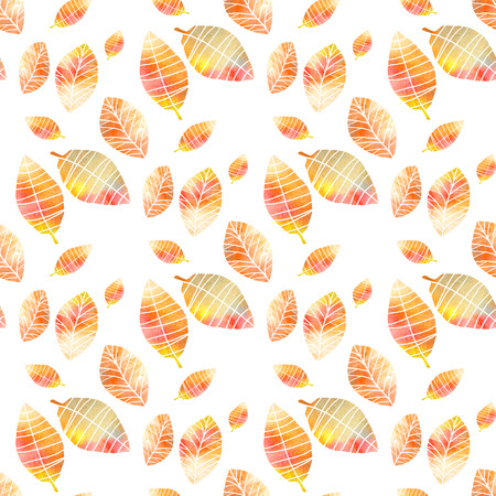 background colors: Seamless pattern with colorful hand drawing autumn leaves, isolated on white background.