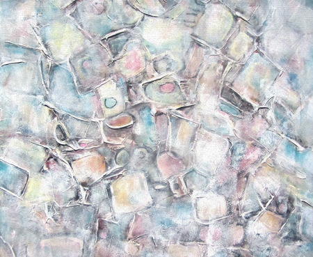 pastel shades: Art abstract painted background with white, light gray, brown and blue square shapes. Interior decor. Grunge background. Brush stroke texture units. Color light pastel shades. Stock Photo
