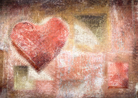 chalky: Chalky heart on the old scratched wall. Concept grunge heart. Unusual background for the Valentines Day. Hand drawn. Abstract vintage valentine background with grunge texture. Poster. Love background Stock Photo