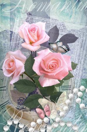 felicitaciones: Postal de la flor. Diseño hermoso romántica tarjeta de felicitación con rosas, mariposas y collar de perlas. Se puede utilizar como tarjeta de felicitación, la invitación para la boda, cumpleaños y otro día de fiesta sucediendo. Foto de archivo