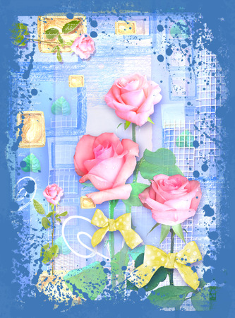 happening: Blue collage postcard flower. Beautiful illustration with roses and bows on the abstract blue background. Can be used as greeting card, invitation for wedding, birthday and other holiday happening.