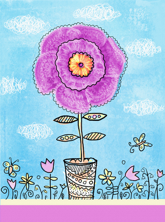 big flower: Floral postcard. Beauty flower in a vase. Congratulations card. A Big flower with knitted petals in a pot.